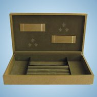 Men's Vintage Leatherette Jewelry Box in Khaki Colors with Velvet Lining by Swank