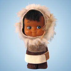 Vintage 1950's Alaska Souvenir Doll – Inupiat Doll in Parka with Spear