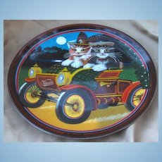 My Merry Oldsmobile Golden Oldies Cat Collector Plate by Thaddeus Krumeich