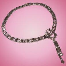 Clear Rhinestone Choker with Dangling Pendant