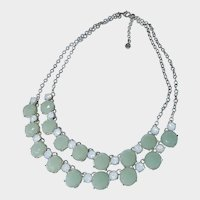 Double-strand Green Faceted Stone and Chrystal Necklace