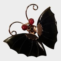 Jade Dynasty Collection Gold Tone Jade and Coral Butterfly Pin or Pendant