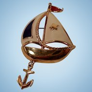 Perky Red White Blue & Gold Tone Sailboat Pin by Avon
