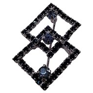 Weiss Deep Blue and Light Blue Rhinestone Pin Two Intersecting Squares