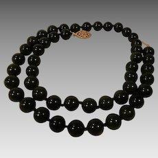 Jade Dynasty Collection Dark Green Jade Bead Necklace