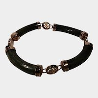Jade Dynasty Collection Dark Green Jade and Gold Tone Bracelet