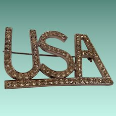 Patriotic USA Initial Pin Clear Rhinestones in Silver Tone Setting
