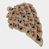 Vintage Red White and Blue Leaf Pin