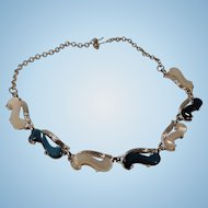 Pretty Silver Tone, White and Blue Thermoset Choker Necklace and Bracelet Set