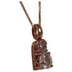 Pretty Sterling Silver Vermeil and Rhinestone Pendant Necklace