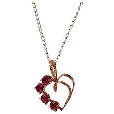 Beautiful Garnet and Open Heart 14 Kt Gold Pendant Necklace