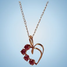 Beautiful Garnet and Open Heart 14 Kt Gold Pendant Necklace
