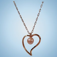 Pretty Pearl and Open Witches Heart Pendant Necklace Signed Krementz