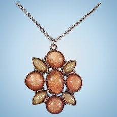 Beautiful Pink and White Fiery Faux Opal and Silver Tone Pendant Necklace Signed SFJ