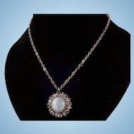 Signed Avon Moon Magic Pale Blue Stone Pendant