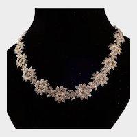 Beautiful Silver Tone Sunflower and Bird Necklace Choker