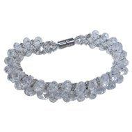 Clear Lucite Beaded Bracelet with Magnetic Clasp