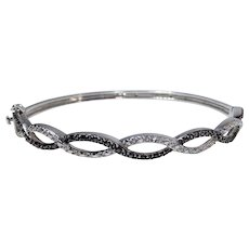 Silvertone Hinged Bangle Bracelet with Security Clasp