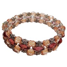 Melon Colored Rhinestone and Silver Tone Stretch or Expansion Bracelet