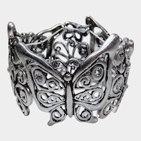 Silvertone Stretch Butterfly Stretch or Expansion Bracelet