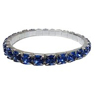 Blue Colored Rhinestone and Silver Tone Stretch or Expansion Bracelet