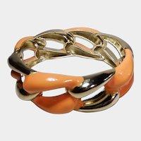 Orange Enamel and Goldtone Hinged Clamper Bracelet