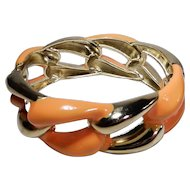 Orange Enamel and Goldtone Hinged Clamper Bracelet