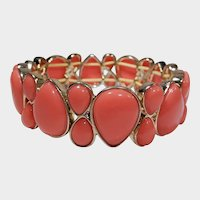 Orange Thermoset Pear Shaped Cabochons and Goldtone Stretch or Expansion Bracelet