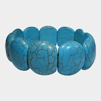 Turquoise Colored Stone Stretch or Expansion Bracelet