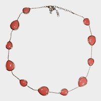 Orange Thermoset Pear Shaped Cabochons and Goldtone Necklace/Choker