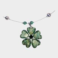 Green Glass Stone Flower Pendant with Matching Pierced Earrings