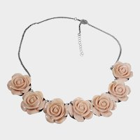 Pretty Vintage Pink Rose Flower Necklace/Choker