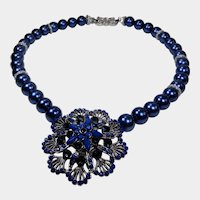 Dark Blue Beaded Pendant Necklace/Choker
