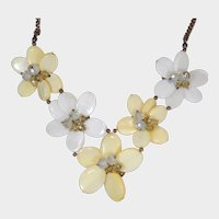 Yellow White and Crystal Petal Flower Necklace/Choker and Earrings