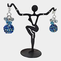 Sparkling Blue Ball Dangle Pierced Earrings