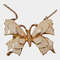 Beautiful Creamy White Enameled and Gold Tone Butterfly Pendant
