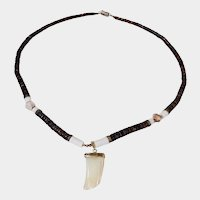 Fabulous Mother of Pearl Sharks Tooth Pendant Necklace