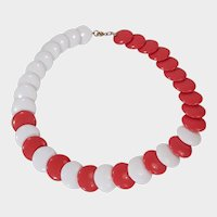 Red and White Plastic Disc Choker Necklace