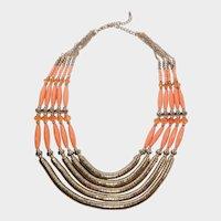 Orange Bead and Goldtone Multi-Strand Necklace