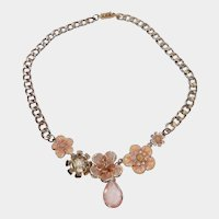 Melon Colored Flower Dangle Necklace/Choker