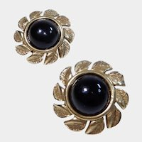 White Stag Goldtone Leaf Design with Black Plastic Cabochons   Clip-on Earrings