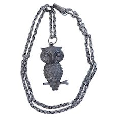 Vintage Silver Tone Owl on Tree Branch Pendant