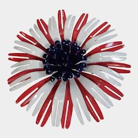 Classic Red White and Blue Enamel Flower Pin 1960's
