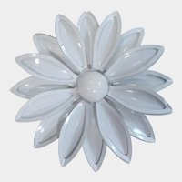 All White Enamel Flower Pin 1960's
