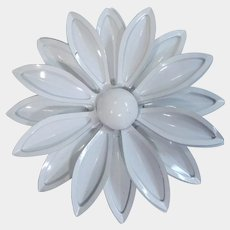 All White Enamel Flower Pin 1960's