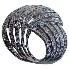 Textured Silver Tone Circle Swirl Pin