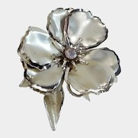 Large Silver Tone and Aurora Borealis Flower Pin
