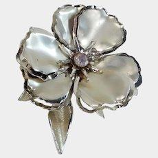 Large Silver Tone and Aurora Borealis Flower Pin