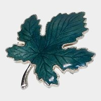 Dark Green Enamel Maple Leaf Pin on Goldtone Backing