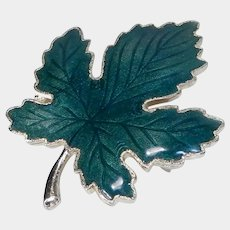 Dark Green Enamel Maple Leaf Pin on Goldtone Backing